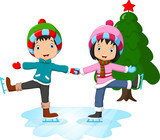Fototapety Ice skating little girl and boy