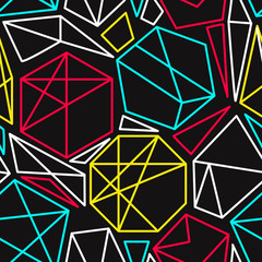 Cmyk concept vector geometric seamless pattern in vivid colors