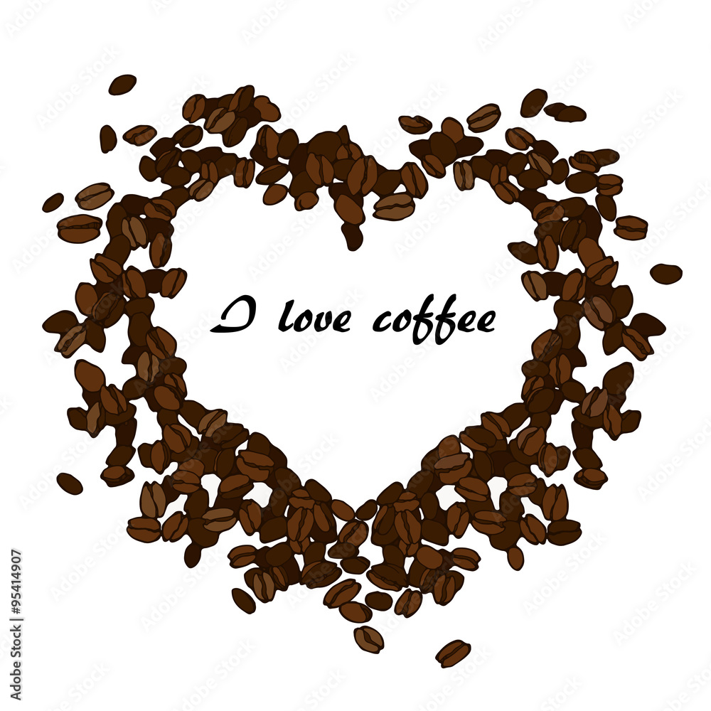 Heart Made From Coffee Beans Wall Sticker Wall Stickers
