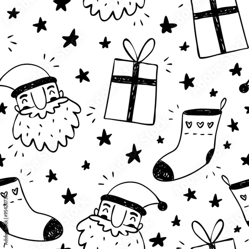 Materiał do szycia Sketchy vector seamless pattern with Santa Claus, socks and gift