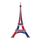 Eiffel Tower Logo red and blue Paris. Icon design