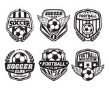 Set of Soccer Football Crests and Logo Emblem Designs. Football Championship Emblem Design Elements - 95424918