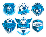 Set of Soccer Football Crests and Logo Emblem Designs. Football Championship Emblem Design Elements - 95425914