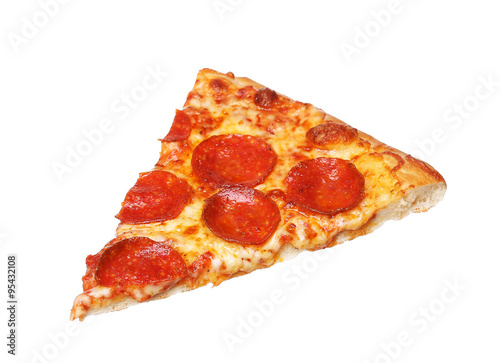 Slice of fresh italian classic original Pepperoni Pizza isolated Poster
