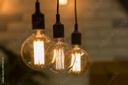 Poster Vintage style light bulbs