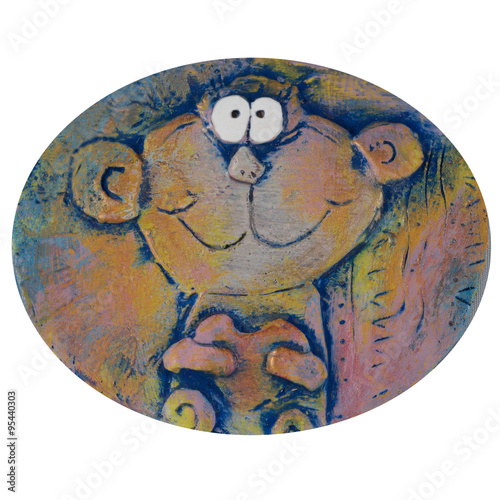 Poster monkey with heart, colorful clay panel, on white background