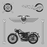 Vintage motorcycle logos, emblems, templates, labels, symbols  and motorbike design elements. Stock vector.