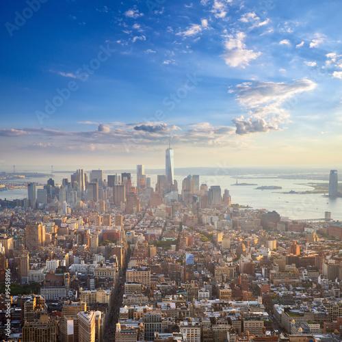 Manhattan at sunset aerial view, New York City, United States
