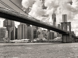 The Brooklyn Bridge and the downtown Manhattan skyline in New Yo
