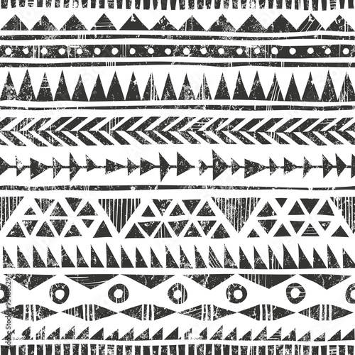 Materiał do szycia Vector hand drawn tribal print. Primitive geometric background in grunge style.