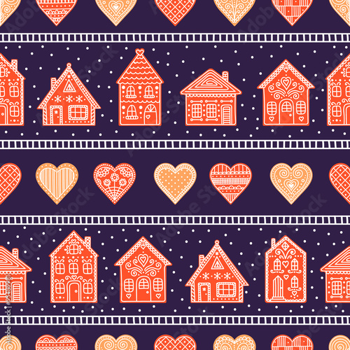 Cotton fabric Gingerbread houses and hearts. Seamless pattern with cookie house and heart. Hand drawn doodle christmas background.