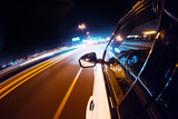Fototapety Car driving at night city