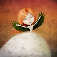 Conceptual illustration of girl with wings and birds.
