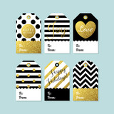 Fototapety Modern creative Christmas gift tags in black, gold and white. Ve