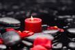 Obrazy na płótnie, fototapety, zdjęcia, fotoobrazy drukowane : Still life with red rose petals with candle and therapy stones