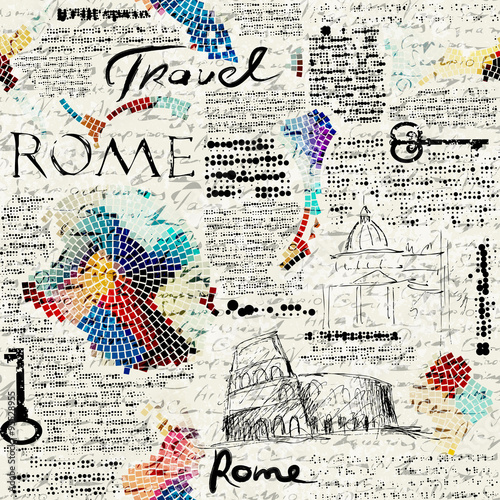 Rome newspaper background - 95528955