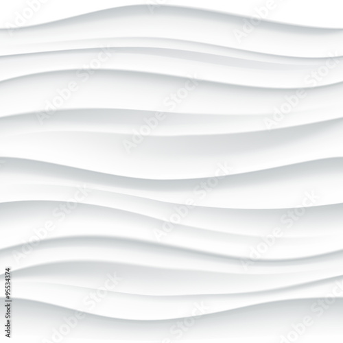 White seamless wavy tile textured panel - 95534374