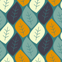 abstract colorful leaves on blue background vector seamless pattern illustration