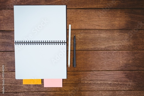 Close up view of a workbook