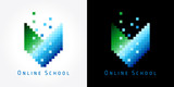 Fototapety Digital online school color logo. Green and blue pixel book icon for internet education.