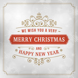 Fototapety merry christmas vintage line art background