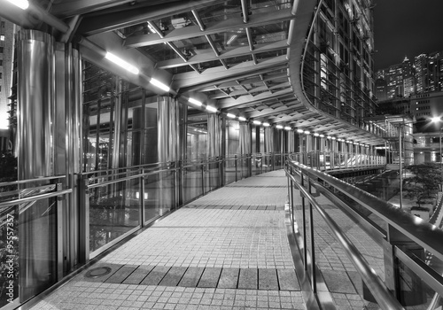 Empty pedestrian walkway in midtown at night