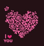 Greeting card with beautiful paper pink heart