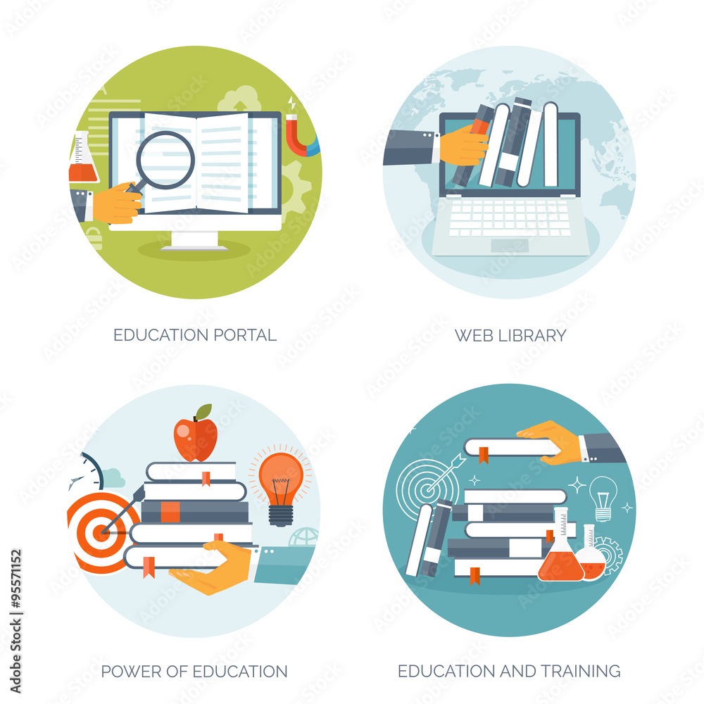 Illustration Flat S Set Distance Education Learning Online Courses And Web School Knowledge