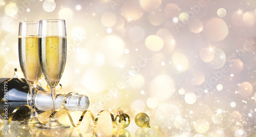 Toast With Bottle And Champagne - Golden Background