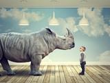 Fototapety  rhinoceros and kid
