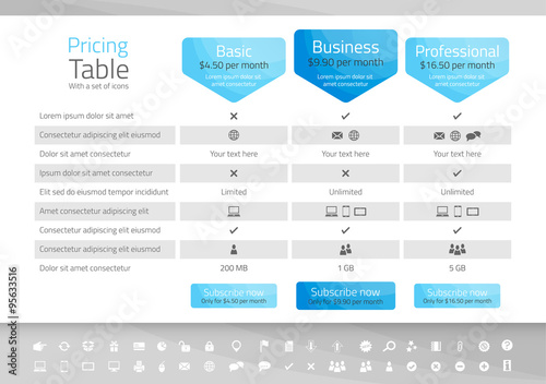 Light pricing table with 3 options. Icon set included - 95633516