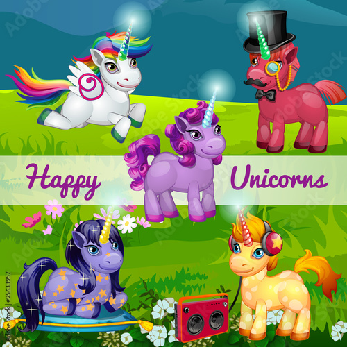 Poster Pony Unusual cartoon unicorns in a meadow, set of five characters