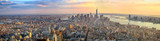 Fototapety Manhattan panorama at sunset aerial view, New York, United States