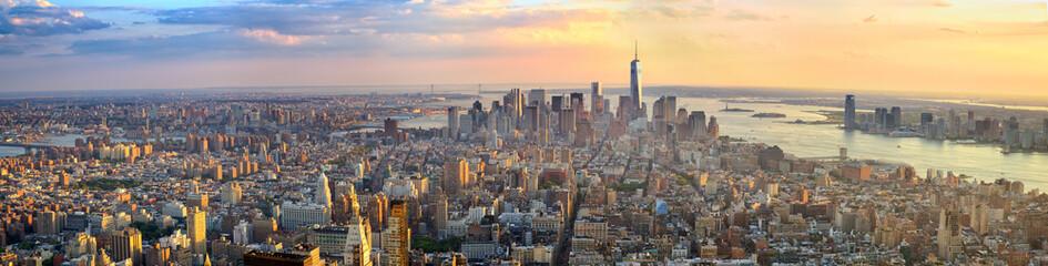 Manhattan panorama at sunset aerial view, New York, United States