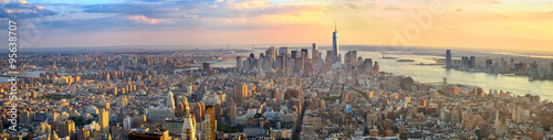 Manhattan panorama at sunset aerial view, New York, United States Poster