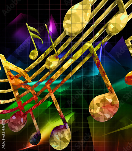 Fototapeta Abstract background with musical notes