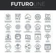 Cloud Data Technology Futuro Line Icons Set
