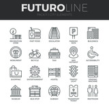 City Elements Futuro Line Icons Set