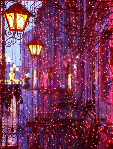 Fototapeta Evening Avenue with lights