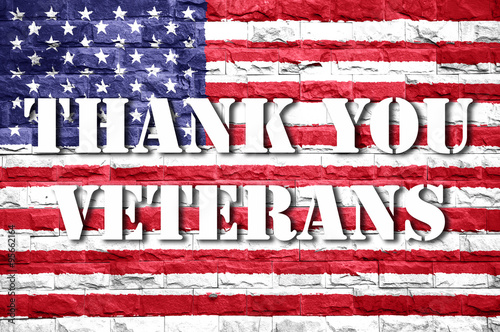 Poster flag of thank you veterans card american background