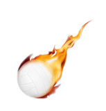 Volley ball on fire. Vector illustration on white background