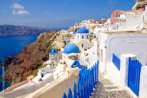 Foto op Canvas Scenic view of colorful romantic cycladic village on Santorini, Greece