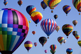 The mass ascension launch of over 100 colorful hot air balloons at the New Jersey Ballooning Festival in White-house Station, New Jersey as a early morning race. - 95676385