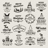 Christmas design elements, logos, badges, labels, icons, decoration and objects set.