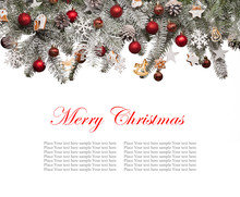 Christmas fir tree decoration on white background