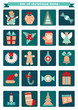Set of christmas and new year icons.