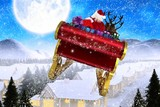 Fototapety Composite image of santa flying his sleigh