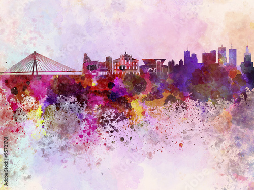 Warsaw skyline in watercolor background - 95721781