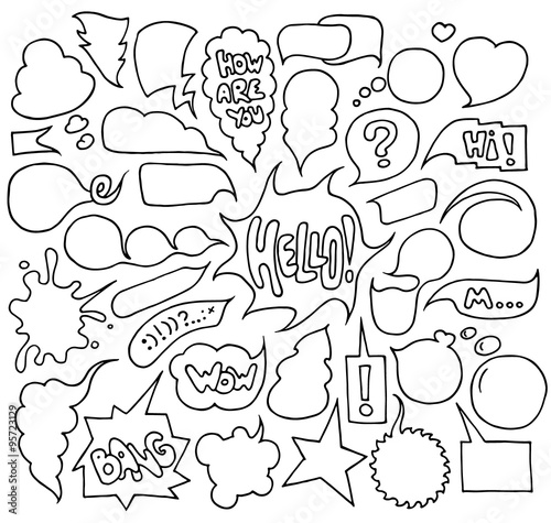 Papiers peints Cartoon draw Big set of speech and think bubbles. Doodle cartoon comic bubbles isolated on white background.Hand-drawn vector organized in groups for easy editing.