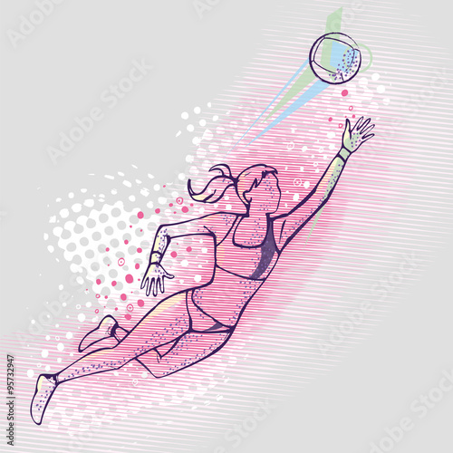fototapeta na ścianę Illustration of a volleyball player jumping
